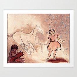 Girl with Horse Illustration Art Print