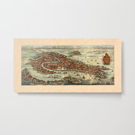 Map Of Venice 1636 Metal Print