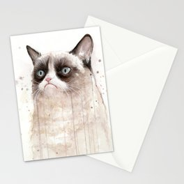 Grumpy Watercolor Cat Geek Meme Whimsical Animals Stationery Cards