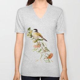 Chickadee Asian Style Bird and Flowers Zen brush painting Unisex V-Neck