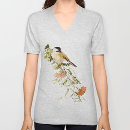 Chickadee Asian Style Bird and Flowers Zen brush painting Unisex V-Neck