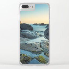 Ocean between the rocks by the beach Clear iPhone Case