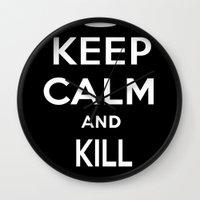 keep calm Wall Clocks featuring Keep Calm by Lunaramour