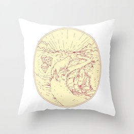 Buddha and Wolf on Road Diamonds Drawing Throw Pillow