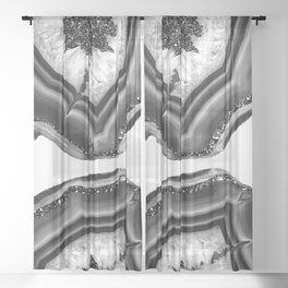 Gray Black White Agate with Black Silver Glitter #1 #gem #decor #art #society6 Sheer Curtain