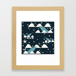 narwhal in ocean blue Framed Art Print
