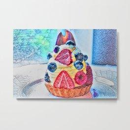 Strawberry Tart Raspberry Blue Berry Chocolate   Food Illustration Metal Print