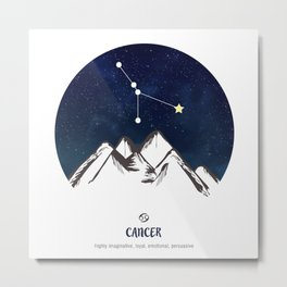 Astrology Cancer Zodiac Horoscope Constellation Star Sign Watercolor Poster Wall Art Metal Print
