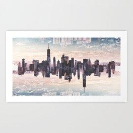 double exposure of nyc skyline Art Print