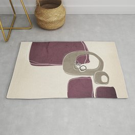 Retro Abstract Design in Taupe and Mulberry Rug