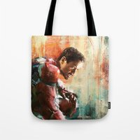 iron man Tote Bags featuring The man of Iron by Wisesnail