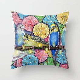 Parakeet Theater Throw Pillow