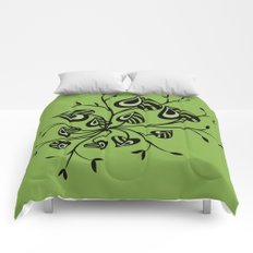 Abstract Floral With Pointy Leaves In Black And Greenery Comforters