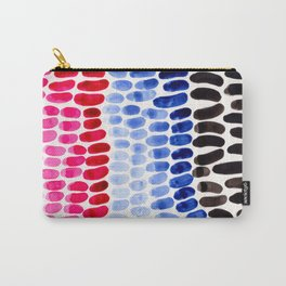 Cold Blue Magenta Colorful Primitive Pattern Watercolor Scales Abstract Carry-All Pouch