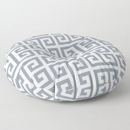 Large Steel Grey and White Greek Key Pattern Floor Pillow