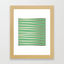 Abstract Drawn Stripes Gold Tropical Green Framed Art Print