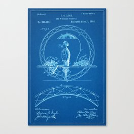 1885 One Wheel Velocipede Patent - Blueprint Style Canvas Print