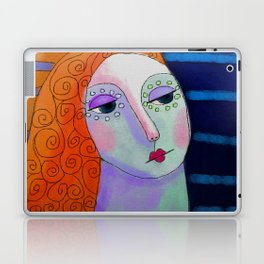 Woman with Curly Orange Hair Abstract Digital Painting Laptop & iPad Skin