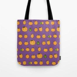 Pumpkin Pattern Purple Tote Bag