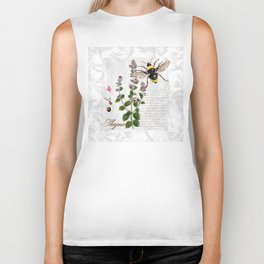Cottage Style Thyme, Bumble Bee, Hummingbird, Herbal Botanical Illustration Biker Tank