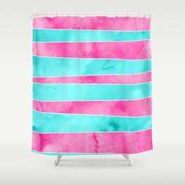 Turquoise pink hand drawn watercolor stripes Shower Curtain