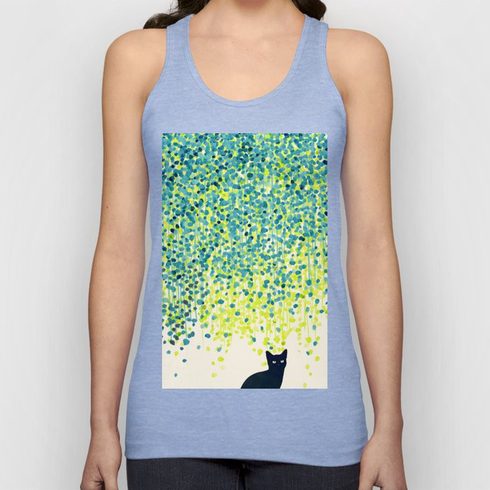 Cat in the garden under willow tree Unisex Tanktop