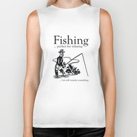 fishing Biker Tanks featuring Fishing by AmazingVision