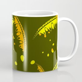 Calm pattern of delicate leaves and petals of garden plants in mustard colors. Coffee Mug