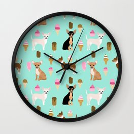 chihuahua ice cream dog lover pet gifts cute pure breed chihuahuas coat colors Wall Clock