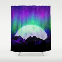 northern lights Shower Curtains featuring Under the Northern Lights by Noonday Design