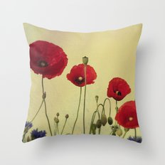 4 Poppys  Throw Pillow