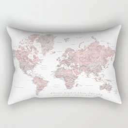 Inspirational detailed world map in dusty pink and gray Rectangular Pillow
