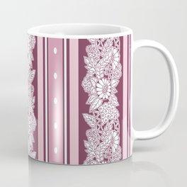 Blush stripes and abstract flowers Coffee Mug