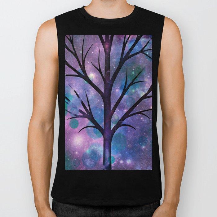 Tree in a fairy-like blue lilac sparkle spring night Biker Tank