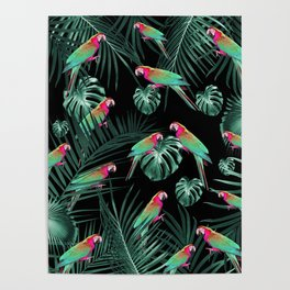 Parrots in the Tropical Jungle Night #1 #tropical #decor #art #society6 Poster