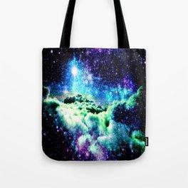 Galaxy Clouds Blue Purple Green Tote Bag
