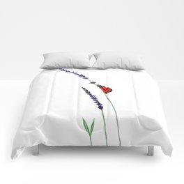 red ladybug and purple lavender Comforters