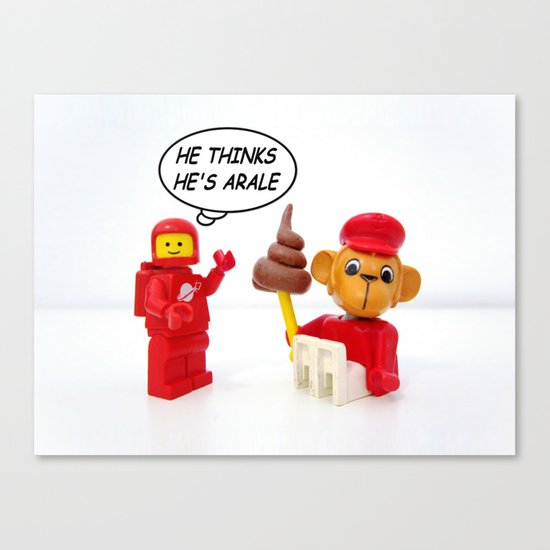 "space lego meeting the ""arale wannabe"" monkey Canvas Print"