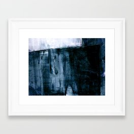 Indigo Blue and White Minimalist Abstract Painting Framed Art Print