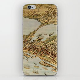 Vintage Pictorial Map of Vancouver BC (1898) iPhone Skin