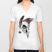 writer V-neck T-shirts featuring DARK WRITER by TOXIC RETRO