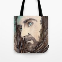 thorin Tote Bags featuring Thorin by Kinko-White