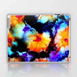 Colorful Abstract Flower Painting Orange Purple Black Laptop & iPad Skin