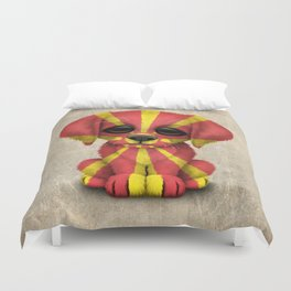 Cute Puppy Dog with flag of Macedonia Duvet Cover