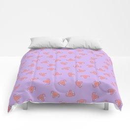 Crazy Happy Uterus in Purple, small repeat Comforters