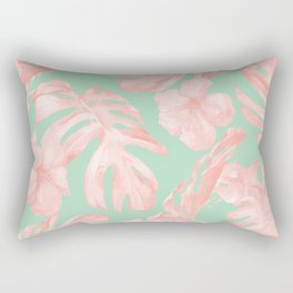 Tropical Palm Leaves Hibiscus Pink Mint Green Rectangular Pillow