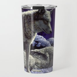 Night Watch Wolves in Snow Travel Mug