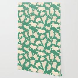 White Cats Pattern Wallpaper