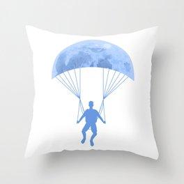 Paragliding At Night Throw Pillow