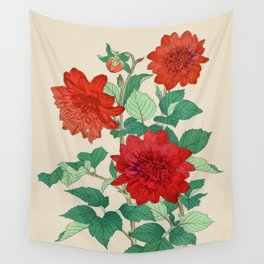 Red dahlias Wall Tapestry